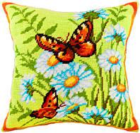 Подушки для вышивания полукрестом Крапивницы на ромашках