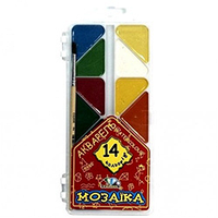 "Акварель 14 цветов ""Мозаика"" пластиковая коробка без кисточки 312056"