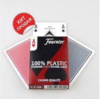 Карты игральные для покера Fournier Standard, 100% пластик (blue)