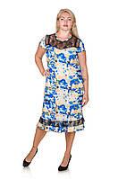 Красивое платье большой размер Венеция голубой (54-66)