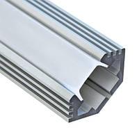 Алюминиевый профиль угловой с фаской 25*10мм для LED ленты серебро (за 1м) Код.57803