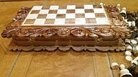 Деревяные шахматы в подарок (шашки, нарды) ручная робота с  резьбою