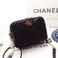 Красивая стёганная женская сумка сумочка с цепочкой золотой короной чёрная, фото 1