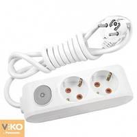 Удлинитель на 2 гнезда с заземлением с кнопкой - 3м кабель Viko 90112203