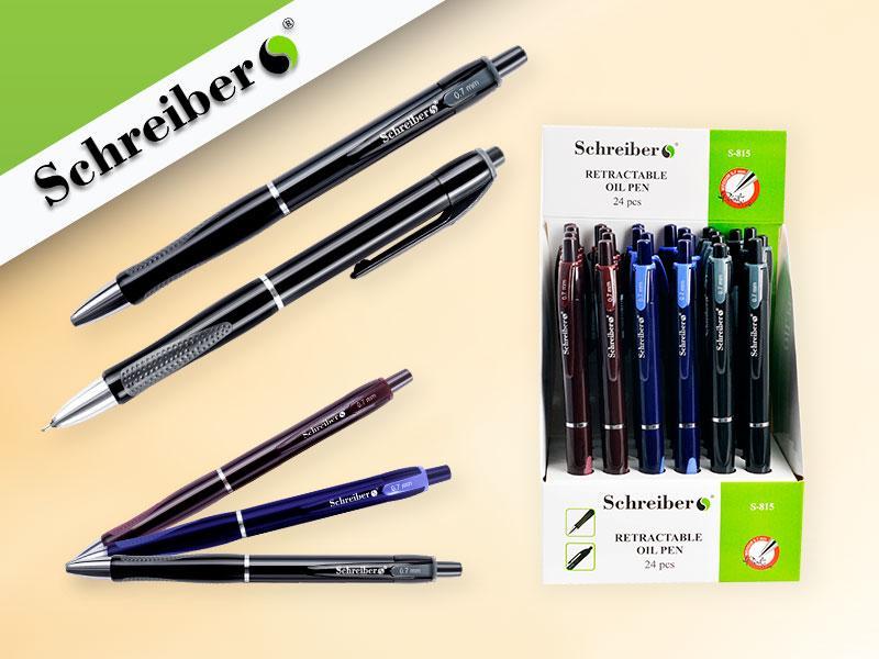 Ручка шариковая с чернилами на масляной основе,3 цвета корпуса в ассортименте NEW -24