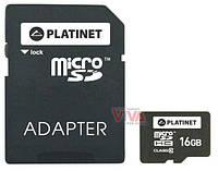 Карта памяти microSD Platinet 16 Gb Class 10 + Adapter