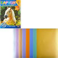 Цветной картон А4, 8 листов металлизированный