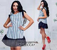 Платье из коттона с тёмно-синей оборкой
