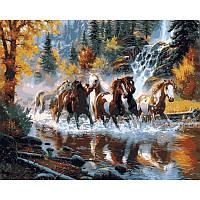 """VP130 """"Дикие лошади"""" Картина по номерам  40Х50см Babylon Turbo"""