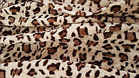 Махровая бежевая ткань с рисунком «Леопард»