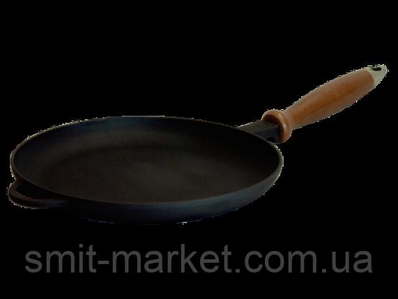 Сковорода блинная с деревянной ручкой(220мм)чугунная, фото 2