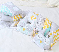 Комплект в круглую кроватку СОВУШКИ. одеяло,защита, постельное белье., фото 2