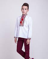 Вышитая подростковая сорочка с красным орнаментом