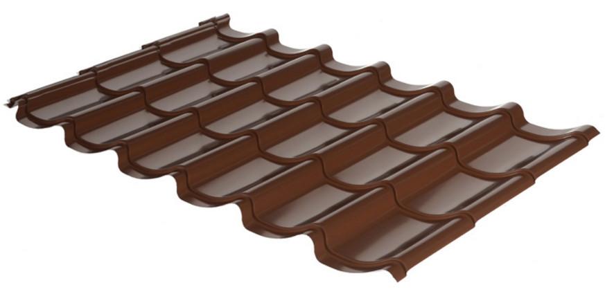 Металлочерепица Rauni RAL 8017 (коричневая) PE 0,45 Mini - EA Market - Европейское качество по доступным ценам в Харькове
