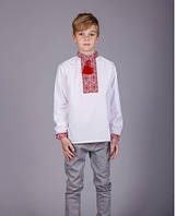 Детская вышитая сорочка с красным орнаментом и длинным рукавом