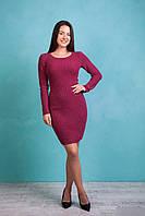 Женское вязаное  платье с узором в ромбы пурпурного цвета, фото 1