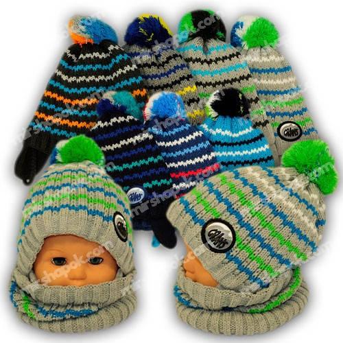 Комплект шапка и шарф-хомут для мальчика, Grans (Польша), утеплитель флис, A836F