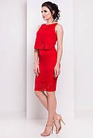 Летний женский костюм из гипюра: блузка и юбка красного цвета. Модель 6358.
