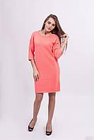 Оригинальное вязаное женское   платье свободного силуэта ярко-розового  цвета