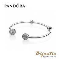 Pandora браслет Открытый браслет-бангл MOMENTS #596438CZ серебро 925 Пандора оригинал