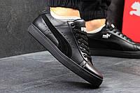 Кожаные мужские кроссовки Puma Suede, черные