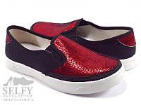 Слипоны мокасины Валди Вика 33-39 красно-черные для девочки