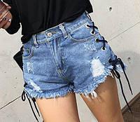 Шорты джинсовые с шнуровкой