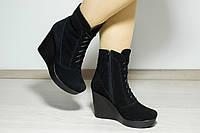 Замшевые женские ботинки на платформе