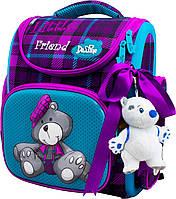 Школьный ранец для девочки (мягкая игрушка, ленточка для волос и мешок для обуви),Delune сиреневый с бирюзовым