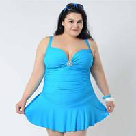 Купальник 58 р-р голубой с брошкой слитный в виде платья большой размер