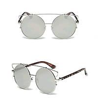 Солнцезащитные очки кошка тишейды большие Серебро