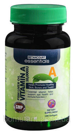 Vitamin A-10,000 fish liver oil 100 softgels Betancourt nutrition