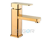 Cмеситель Zegor LEB1-A-G для  умывальника одно рычажный ванный  кран (цвет золото)