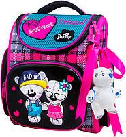 Школьный ранец для девочки (мягкая игрушка, ленточка для волос и мешок для обуви), Delune розово-бирюзовый