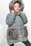 Зимняя  куртка с натуральной опушкой  для девочек на рост 116см    X-Woyz 8249
