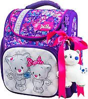 Школьный ранец для девочки (мягкая игрушка, ленточка для волос и мешок для обуви), Delune сиреневый