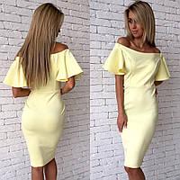 Платье миди с рукавом флаттер