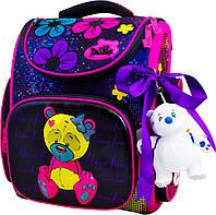Школьный ранец для девочки (мягкая игрушка, ленточка для волос и мешок для обуви), Delune сиреневый с розовым