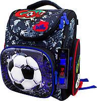 Школьный ранец для мальчика (электронные часы и мешок для обуви), Delune серый с синим