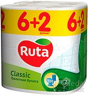 """Бумага туалетная """"Ruta Classic"""" 2-слойная 6+2рул. белая"""