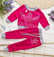 ДЕтский велюровый костюм Адидас для девочки, розовый и зеленый