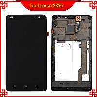 Дисплей Lenovo S856 леново с тачскрином и рамкой в сборе, цвет черный