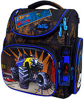 Школьный ранец для мальчика (электронные часы и мешок для обуви), Delune  коричневый с синим