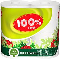 """Бумага туалетная """"100% Paper"""" 2-слойная 4рул/уп белая"""