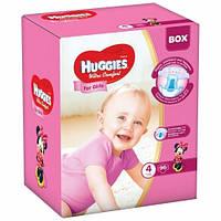 Подгузники Хаггис Huggies Ultra Comfort для девочек BOX 4 (7-16кг), 96 шт.