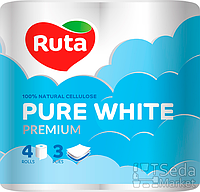 """Бумага туалетная """"Ruta Pure White"""" 4рул. белая"""