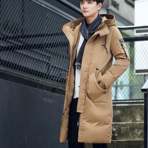 Мужское пальто-пуховик с капюшоном. Модель 6266
