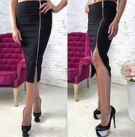 Юбка женская джинсовая с двухсторонней молнией P7114