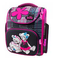 Школьный ранец для девочки с ортопедической спинкой, черный с розовым