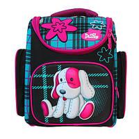 Школьный ранец для девочки с ортопедической спинкой Little Dog, черный с розовым